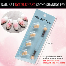 Double-ended Nail Art Gradient Shading Dotting Painting Pen Sponge Head Rhinestones Handle Gel UV Brush Tools Manicure