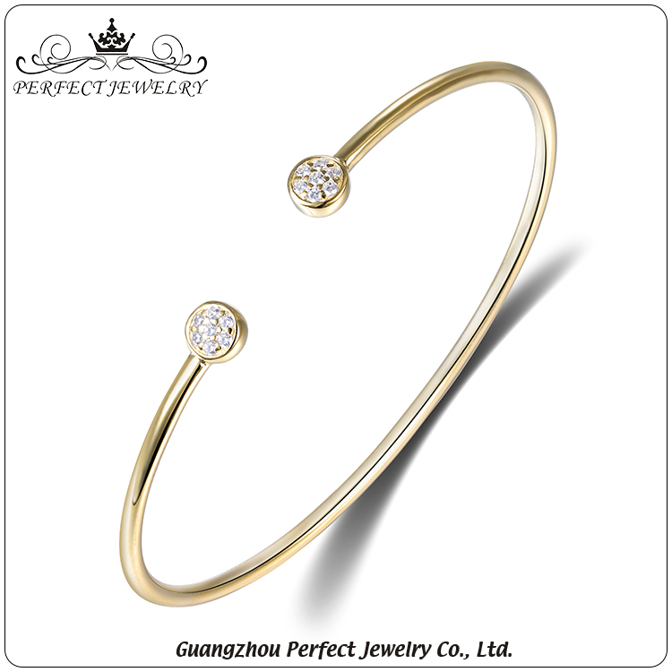 Fashion open design wholesale charm ip plating sterling silver women cuff bangle bracelet
