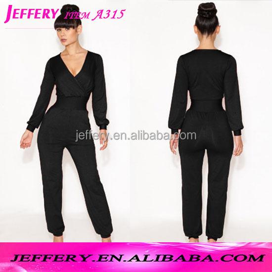 Wholesale Women casual printed jumpsuit winter long pants v neck ...