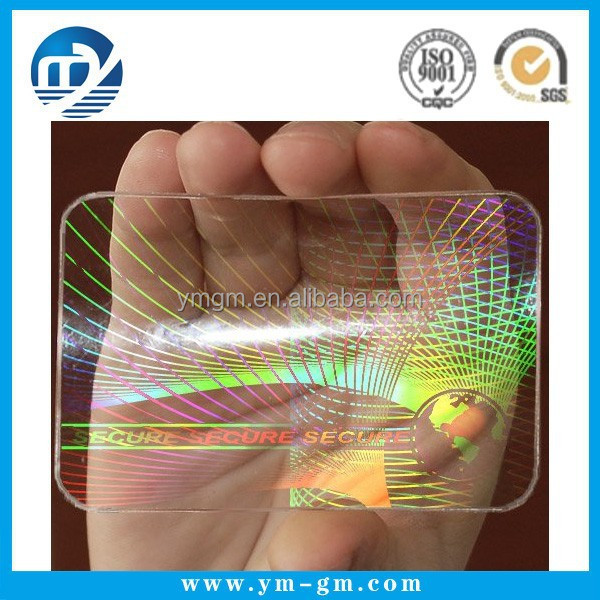 Custom transparent clear hologram sticker for id card