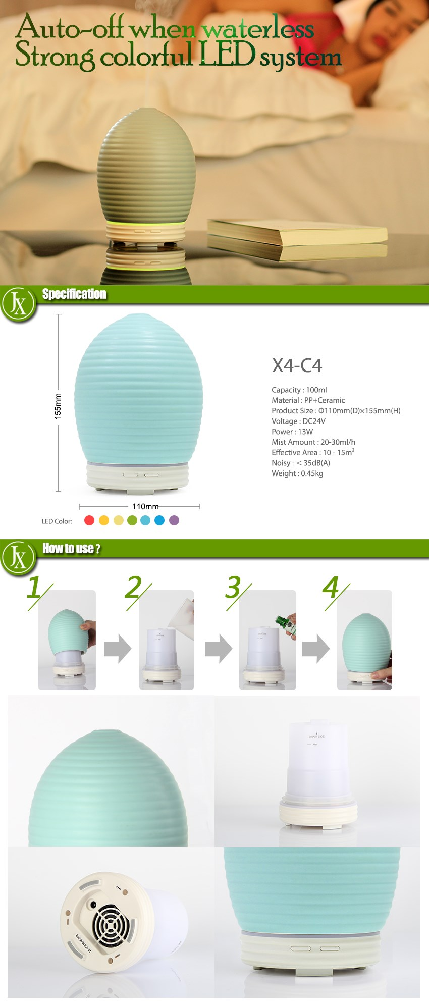 Ceramic Aroma Mist Diffuser Aromatherapy Nebulizer with Colorful LED Light