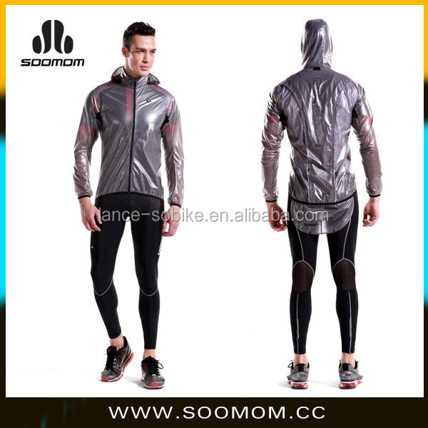 Men's Bike Rain Jacket Outdoors Riding Bicycle Transparent Raincoat Waterproof