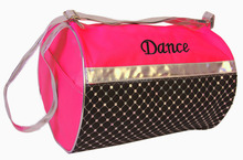 Black Embroidery New Girls Silver Sequin Dance Roll Duffel Bag