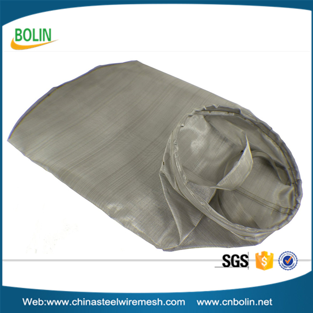 Stainless Steel Filter Bag 150 Mesh 100 Micron Welded SUS304 Ring Dual SS304 Hanging Straps
