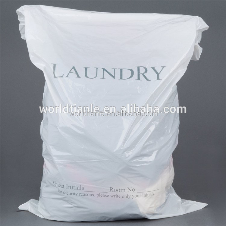 White Color HDPE Plastic Printed Laundry Bag