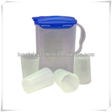 5pcs tableware plastic pitcher cup set with lid