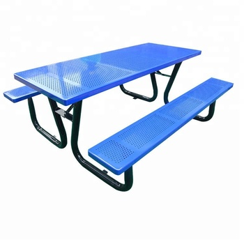 Galvanized Steel Powder Coating Top and Seating Garden Patio Metal Picnic Table For Outdoor