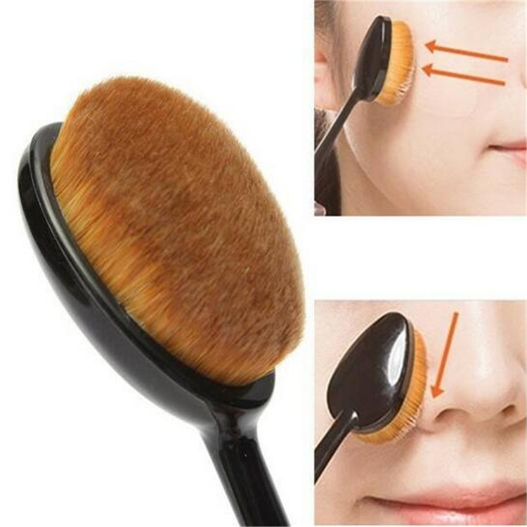 New package single pieces rose gold oval makeup brush oval foundation makeup brush toothbrush shape brush set