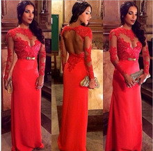 S63464A New Hot Sexy Long Sleeves Red Lace Long Crochet Ladies Maxi Evening Dress