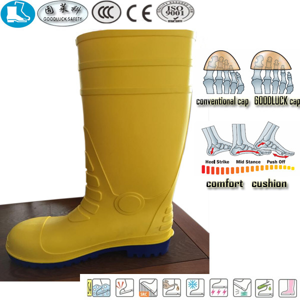 new style fashionable yellow blue pvc nitrile rubber safety water boots for women