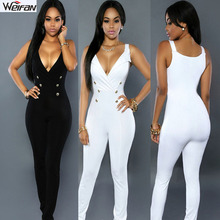 Wholesale clothing 2014 sexy ladies deep v neck jumpsuit wholesale for women
