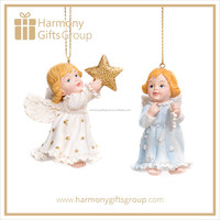 European Beauty Small Baby Angel Christmas Figure with Snowflake