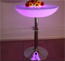 color change stainless steel base led High Top Bar Table