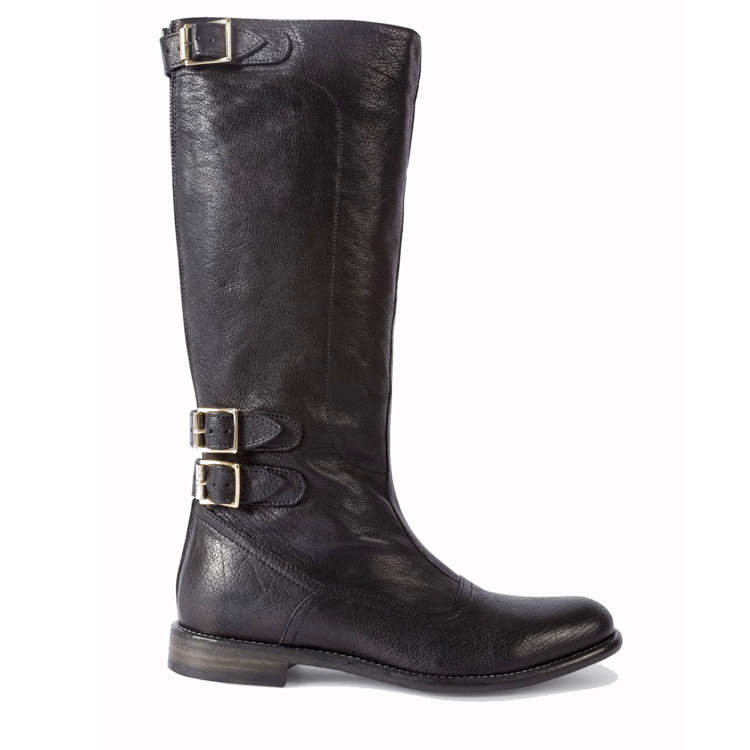 Women black leather knee horse riding flat boots