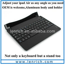 LBK172 Mobile Bluetooth keyboard for iPad Air, wireless keyboard for iPad 5 stand aluminum body and holder