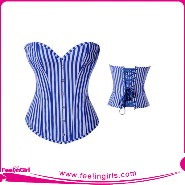 Wholesale Lover-Beauty White&Blue Vertical Stripes Bustier Top