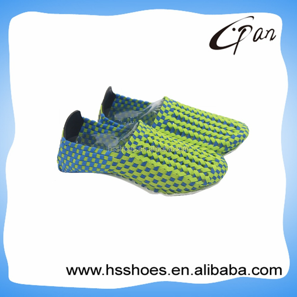 elastic stretch weave shoes knit upper
