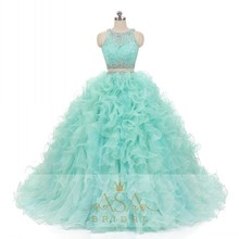 ASQ11 Real Design 3 Pieces Green Detachable Ruffle Skirt Lace Crystal Prom Dress Ball Gown Quinceanera Dresses
