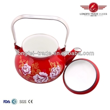 cheap wholesale beautiful flower decals stainless steel kettle teapot enamel camping kettle