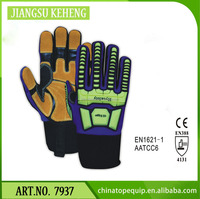 TPR knuckle protection safety gloves Yellow Hi Vis cow split leather palm working gloves Oilfield industry heavy duty gloves