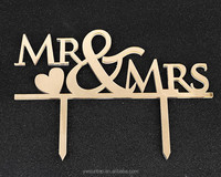 Newest Popular Mr&Mrs Heart Mirror Gold Acrylic Cake Topper Wedding Decorations
