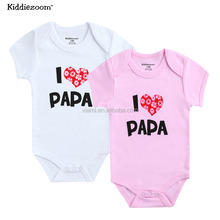 new design 100% cotton lovely pattern letter papa and mama baby suits