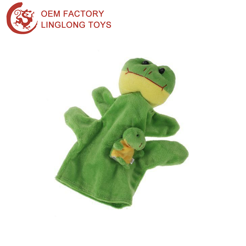 Magic Show Prop Ventriloquist Puppets Funny Children Toy Plush Frog Hand Puppet Green Frog Stuffed Hand Puppets