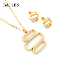 Stainless Steel Gold Plated Three Rectangle Jewelry Set Pendant Necklace Earrings Set Women Mother Gifts