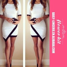 Chic O-Neck Half Sleeve Nipped Waist Contrast Color Women Bodycon Dress And Fashion Club Dress