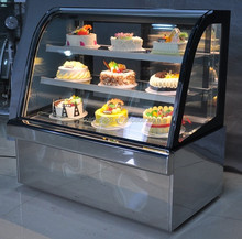 FGW300S Mirrior SS Curved Glass Cake Display Case/Bakery Showcase / Display Cooler