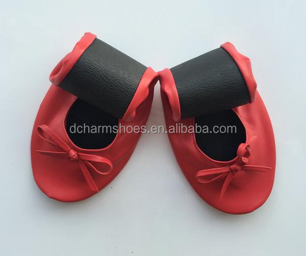 New arrival Red famous style Comfortable Party Roll up Shoes w/ Matching Carrying Bag