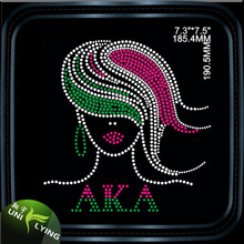 Wholesale Rhinestone Heat Transfers Green and Pink Greek Letter Iron on Afro Gril Motif custom