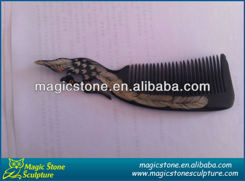 wholesale carved ox horn comb