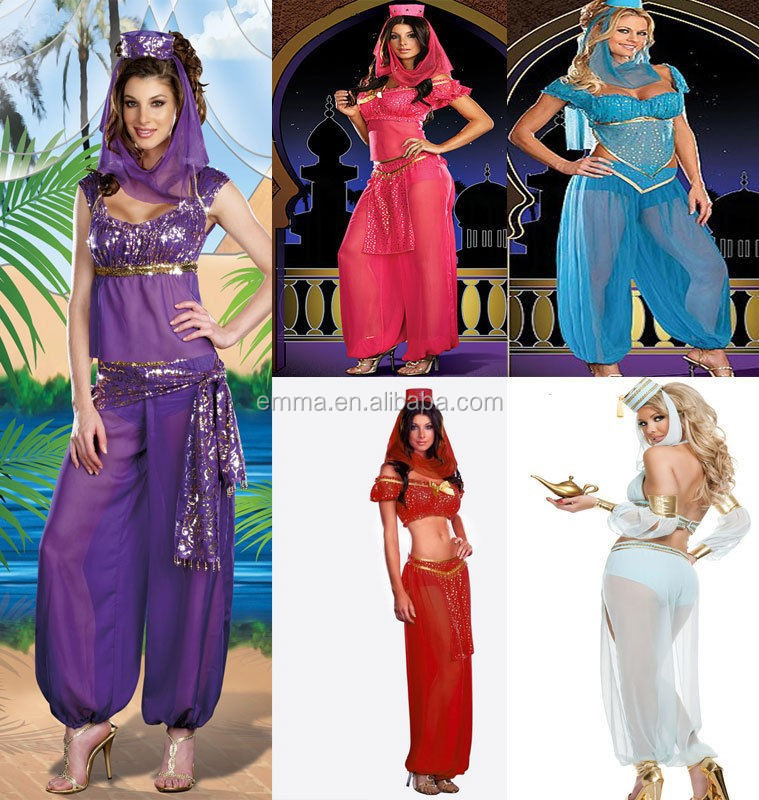 Jasmine Aladdin Princess Adult Costume Fancy Dress Arabian Bollywood Belly Dance BW3021