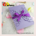 flower design cheap folded laser cut purple invitations