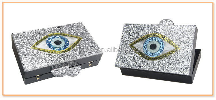 Alibaba China New Product Classic Bridal Envelope Clutch Bags Fashion Nice Eye Style Women Lady Acrylic Box Clutch Bag