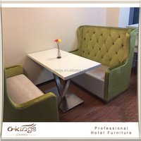 Restaurant furniture button back pu velvet sofa with wooden table
