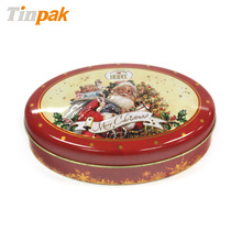 Oval Shape Embossed Christmas tin box Dongguan