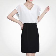 European Design Contrast Color Trendy Fashion Picture Of Office Women Dress