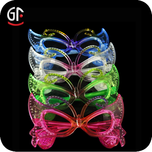 China Manufactured Christmas Wholesale Butterfly Style Flashing Led Glasses