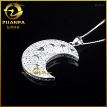 Factory direct sale moon shape pendant 925 sterling silver jewelry rhodium jewelry