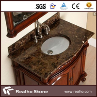 Light Brown Emperador Mocha Marble Top Counter With Double / Single Sink Vanity