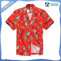 Hawaii Hangover Hawaiian Shirt Aloha Shirt in Red with Green Turtles and Palm