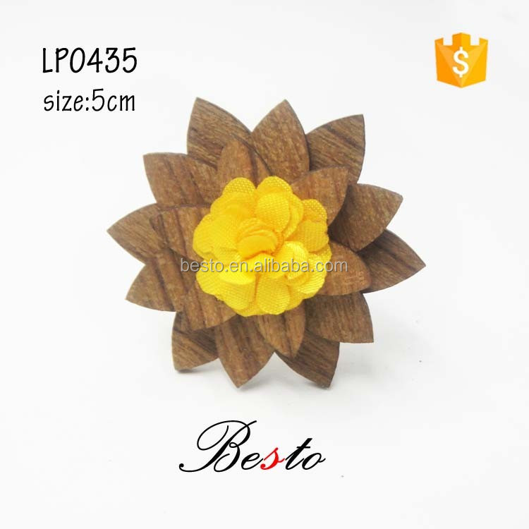 New fashion vintage boutonniere lapel pin making machine custom wooden flower lapel pin for suits wedding decoration