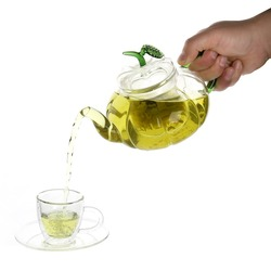 Manufacture eco-friendly high borosilicate teapot with stainless steel infuser teapot