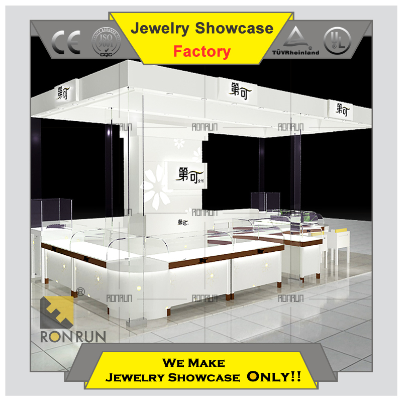 Custom made 2015 new design jewellery kiosk for shopping mall