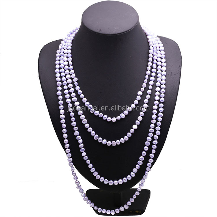 Purple 7-8mm Freshwater Cultured Baroque Shape Pearls Necklace <strong>100</strong> Inches