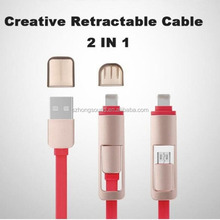 2 in 1 mobile 8Pin Sync Charger Cable Retractable Micro USB Cable For iPhone 5 5s 6 plus Samsung Galaxy Cable