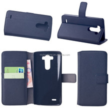 Book style folio flip pu leather phone case with stand funtion and card holster for lg g3