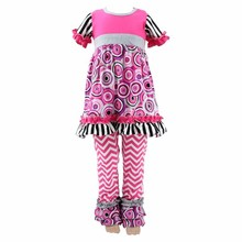 Boutique 2017 new arrival cheap summer clothes for kids outfits western easter stripe ruffle short sleeves baby girl outfit